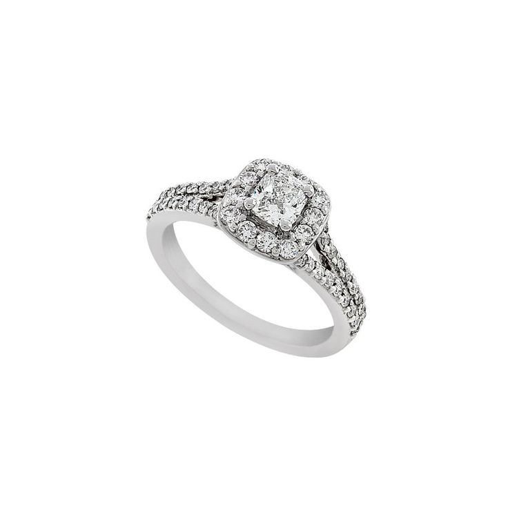 14 KARAT WHITE GOLD ENGAGEMENT RING WEIGHING APPROX 3.1DWT, SET WITH ONE 5/8 CARAT CUSHION CUT CENTER SI1/2,H-J