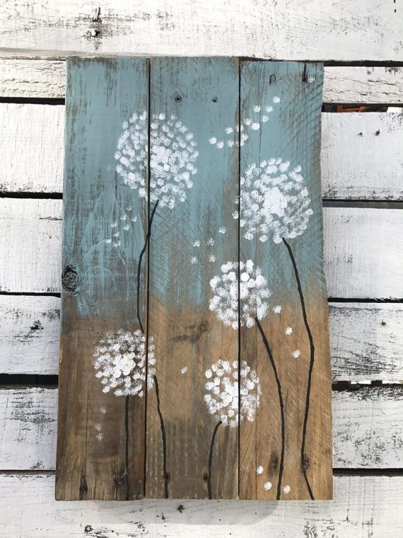 Hand painted dandelion flower wall art on reclaimed wood. Will look great in any…