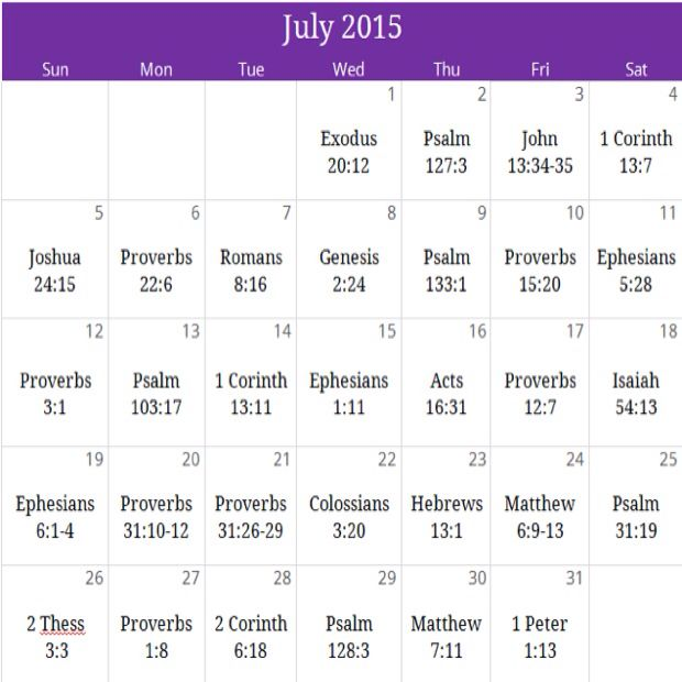 "July ""Family"" Prayer calendar. For a free PDF version and monthly newsletter email us at calendar@iprayallday.com"