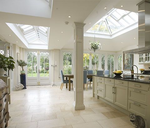 Kitchen with orangery extension, like the windows to suit a period home #interior #kitchen #orangery