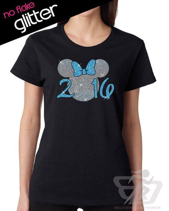 Disney Shirt GLITTER - New Years Shirt Minnie 2016 // Womens Crew Neck Tee // Mickey // Holiday Family Vacation // Adult (5000L black)