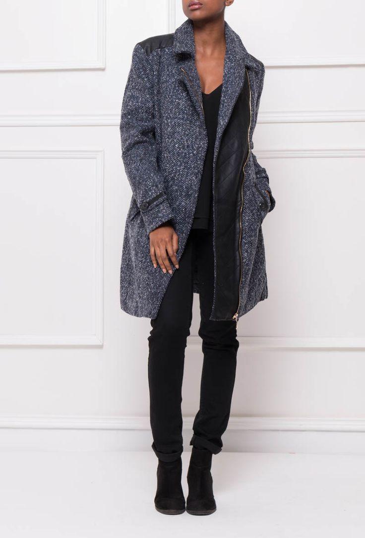 Manteau bi-matière avec empiècement en similicuir