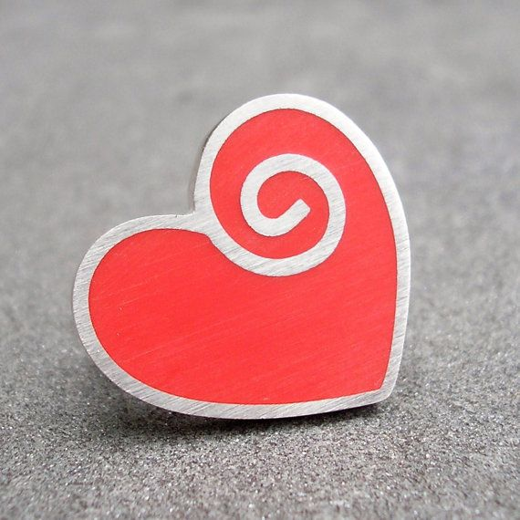 Red Resin Heart and Spiral Sterling Silver Ring US 75 by lsueszabo