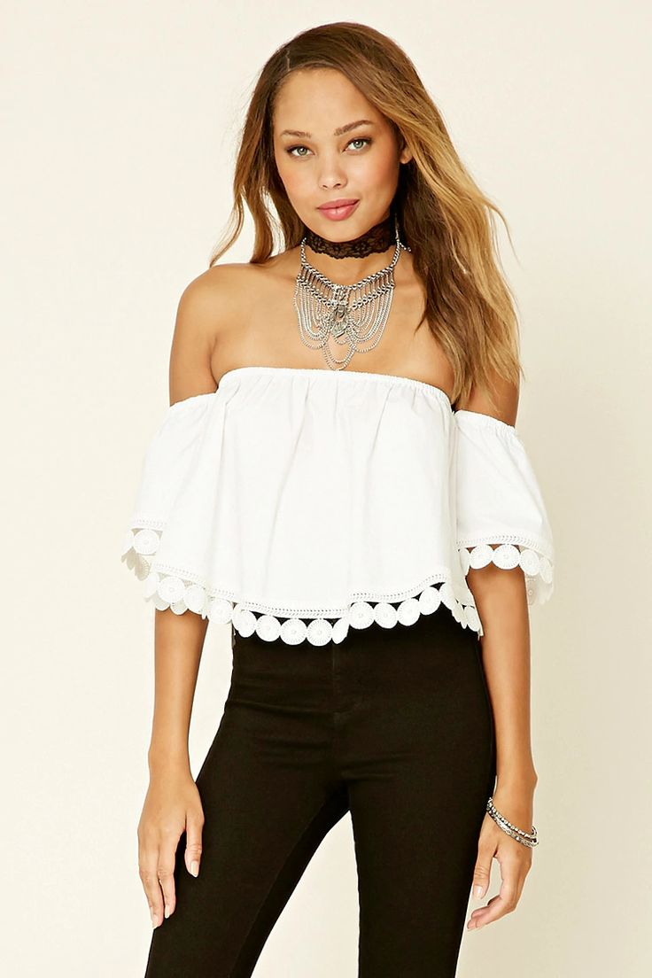 A woven off-the-shoulder top with scalloped crochet trim, an elasticized neckline, and short sleeves. This is an independent brand and not a Forever 21 branded item.