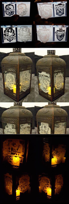 Engraved a Hogwarts themed lantern