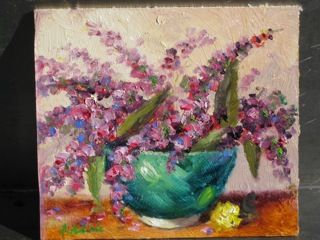 Purple Flowers - Original Oil Painting by Enoch Hlisic