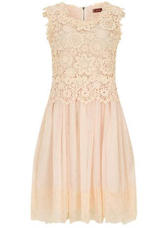 Jolie Moi Beige Crochet Lace Prom Dress