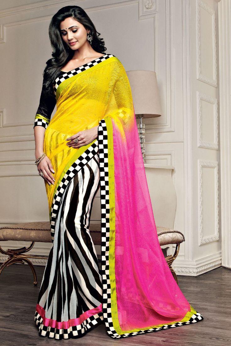Daisy Shah - Multicolor Chiffon and Jute Saree with Printed and Lace Work - Z1982P263-6 #designer #bollywood #daisyshah #sarees @ http://zohraa.com/sarees/sari/celebrity.html #celebrity #zohraa #onlineshop #womensfashion #womenswear #bollywood #look #diva #party #shopping #online #beautiful #beauty #glam #shoppingonline #styles #stylish #model #fashionista #women #lifestyle #girls #fashion