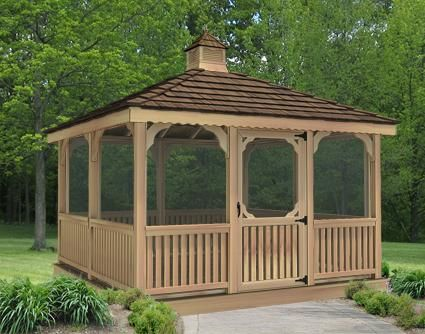 omg why didn't i think of this before?? instead of an attached screen porch we could order a prefab screen gazebo for the back yard!! complete with screened floor to keep all the buggies out!