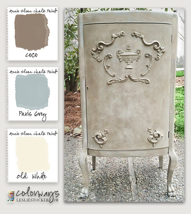 Mahogany music cabinet redo with Annie Sloan Chalk Paint and Efex Furniture Appliqués COLORWAYS at www.LeslieStocker.com