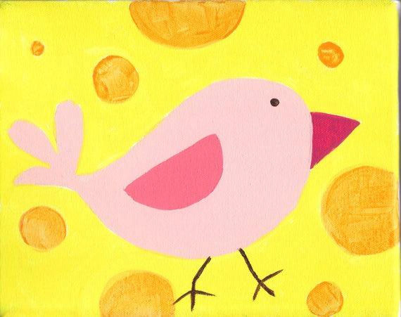 Sweet Tweets nursery theme - Pink Birdie with Sunny Yellow backgroundPink Birdie, Tweets Nurseries, Sweets Tweets, Teaching Art, Pink Birds, Nurseries Theme, Children Art, Sunny Yellow, Baby Vera