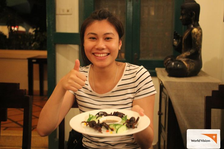 Romdeng is a NGO restaurant in #Cambodia run by Friends International. It trains youth in #hospitality. The special feature of the menu is fried #tarantula which makes a great photo opportunity, even for those not willing to give it a try. You can go #overseas with #WorldVision in 2015 and 2016!