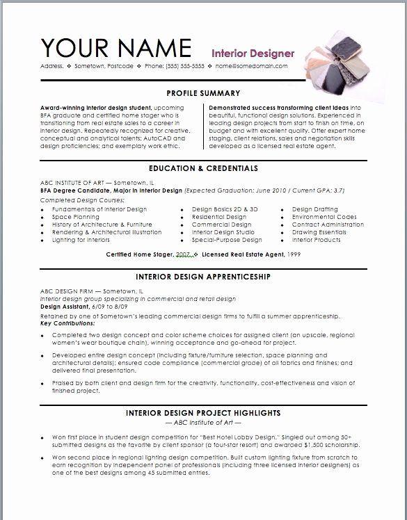 Graphic Design Intern Resume Fresh Assistant Interior Design