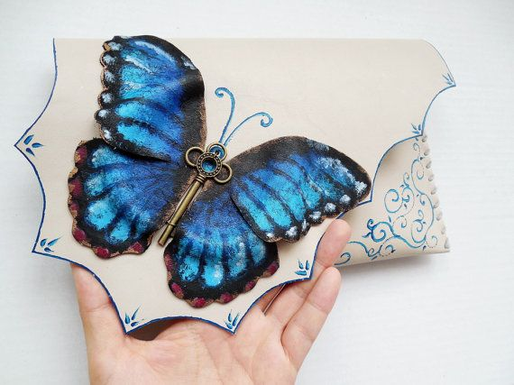 Blue Butterfly bag Morpho Butterfly clutch Painted by spiculdegrau