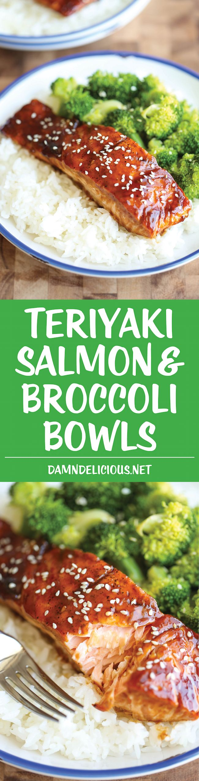 Teriyaki Salmon and Broccoli Bowls | There's no need for takeout anymore... you can easily make homemade #salmon teriyaki bowls in minutes!