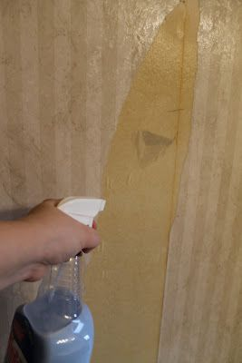 Homemade Wallpaper Remover Spray {plus tutorial} : mix fabric softner with equal amounts of water. Remove top layer of wallpaper by peeling it off. Spray or roll onto walls to remove bottom layer of wallpaper. Clean walls, etc. very well afterwards, so paint will stick to walls. Going to have to try this trick.