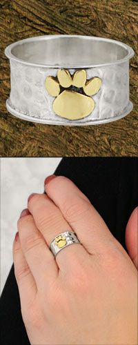 @Emily Walton - this totally made me think of you! - Golden Paw Sterling Ring at The Animal Rescue Site