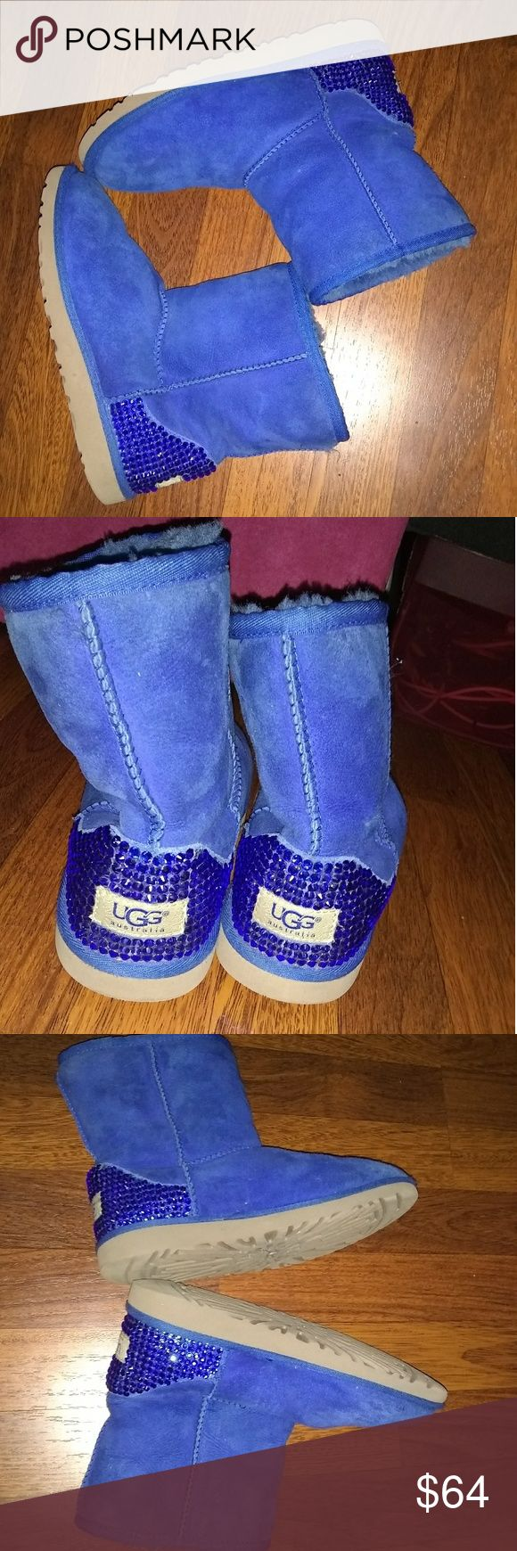 Blue Ugg boots Size 4 youth which can fit a 6/6.5 women's. Blue suede. Good condition. UGG Shoes Winter & Rain Boots