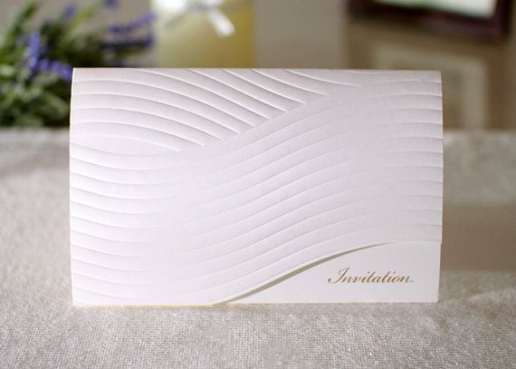 Custom White Modern Wave Pattern Embossed Wedding Invitations - Mo85043 - Free Envelopes & Silver Seals - Free Shipping Promotion