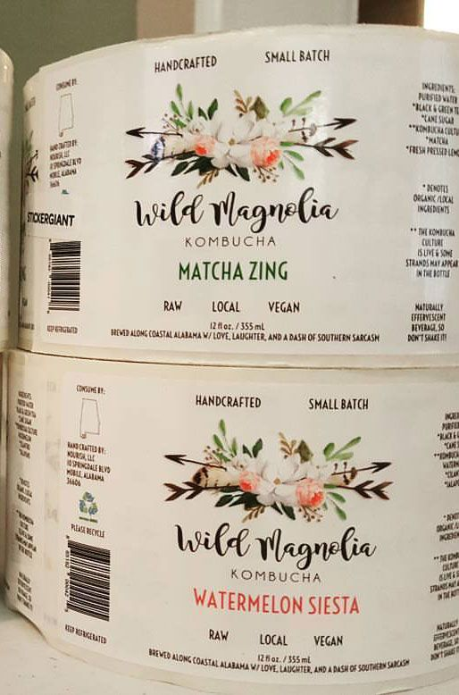 Beverage labels for wild magnolia kombucha infused with love laughter and a dash of southern sarcasm