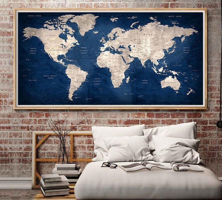 Large World Map Wall Art,World Map Poster,World Map Decal,World Map Large Print,World Map Print,World Map Print, World Map Art,World Map - L152