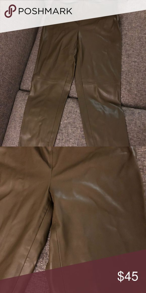 Zara leather pants Leather pants Olive Fabric can stretch Elastic waist Very sexy and comfortable Looks amazing with sandals and boots Zara Pants Skinny