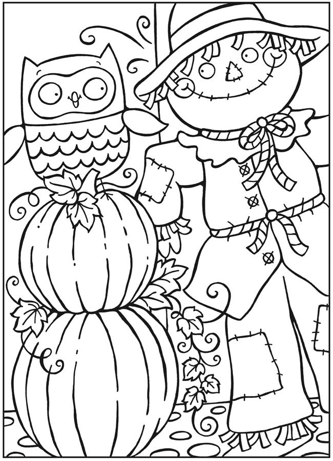 Dover Publications - free sample page from OWLS COLORING BOOK. (scarecrow, pumpkins & owl)