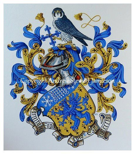 The Armorial Bearings of Travis Smith this is original hand drawn and painted artwork created by British Artist and Designer Andrew Stewart Jamieson and is fully copyrighted.  No portion of this can be used to create another piece of artwork.  Do not copy, trace or digitally manipulate.  (heraldry, heraldic art, heraldic artists, coats of arms, fine art, The Jamieson Family)