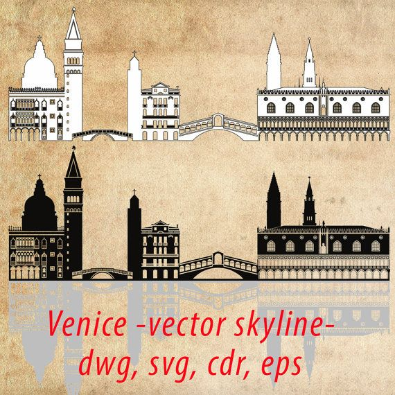 Venice SVG, Venice Clipart City Silhouette, Venice Skyline Vector, Instant Download, eps, ai, svg, cdr, dwg, dxf, jpg, png - DigitalToolShop