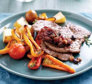 Grilled minute steaks with red onion compote | Australian Healthy Food Guide