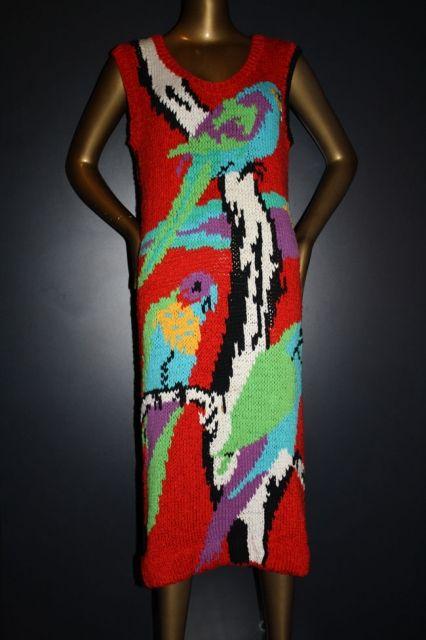 Flamingo Park cotton hand knit dress c1980