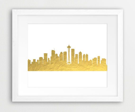 Seattle Skyline Printable File Seattle Cityscape Gold by synplus