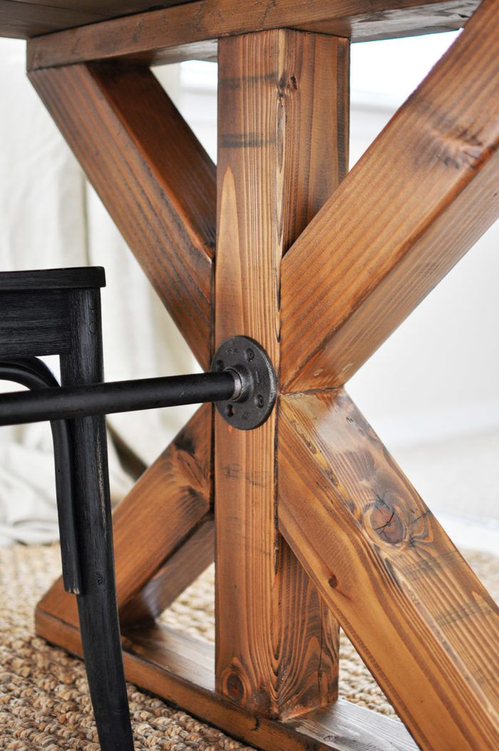 dining table legs. love the legs on this table, along with industrial piping for center support. dining table