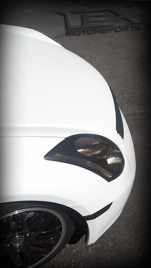 Infiniti G35, satin white, satin white vinyl, vinyl wrap, custom cars, smoked headlights