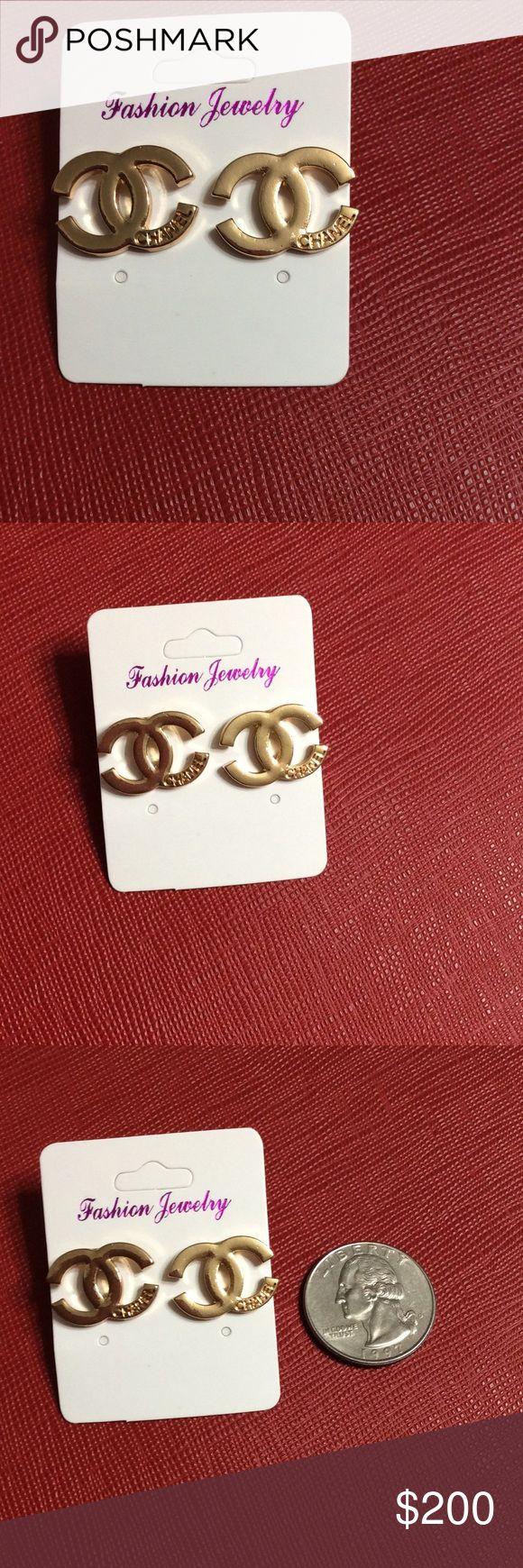CC earrings Brand new gold earrings. Not real Chanel. Price is firm CHANEL Jewelry Earrings
