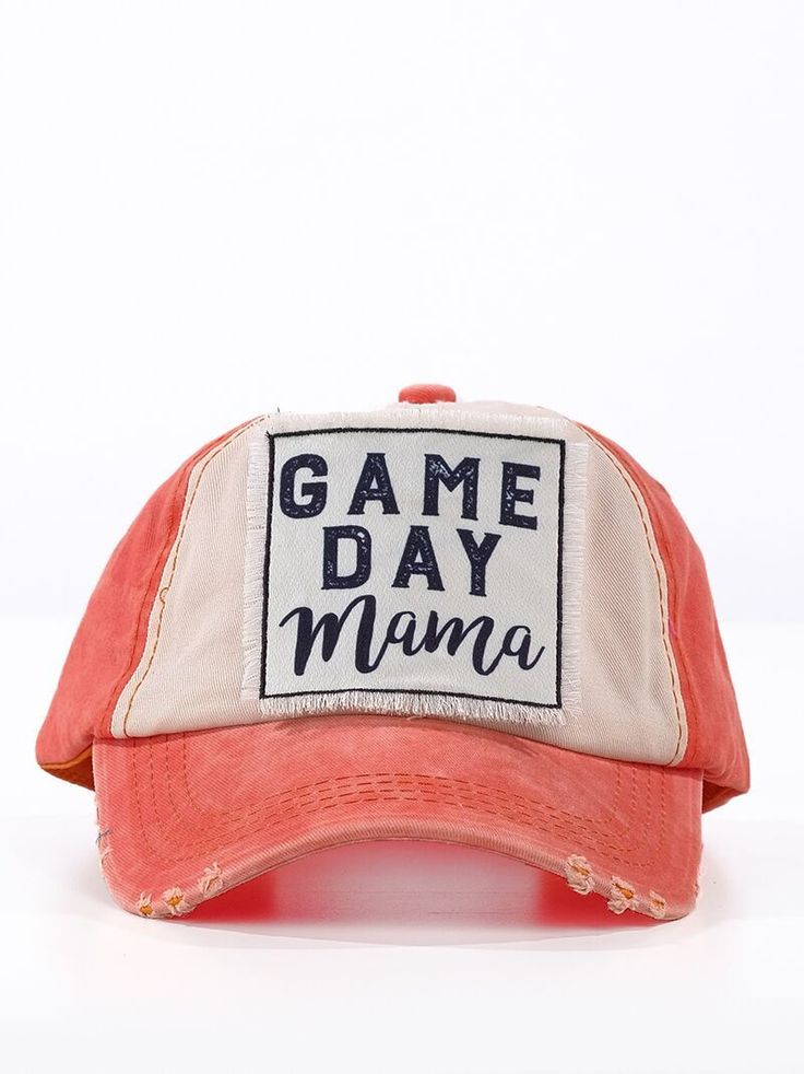 Gameday Mama Patch on Distressed Orange and Cream Cap  Hat has an adjustable velcro strap.