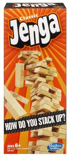 JENGA Game Age: 6+; Players: 1 or more; Available: NOW; Approximate Retail Price: $12.99 The original wood block game is back with new packaging that showcases the JENGA party in every box! Tension is sure to mount as players compete to push, pull and stack blocks to build the highest tower. Make sure you have a steady hand or the JENGA tower will come crashing down!  http:// amzn.to/1H4XQVA