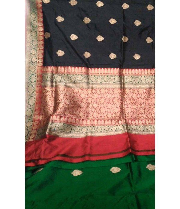 Black Banarasi Handloom Katan Silk Saree