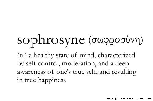 sophrosyne - a healthy state of mind, characterized by self-control, moderation and a deep awareness of one's true self, and resulting in true happiness.