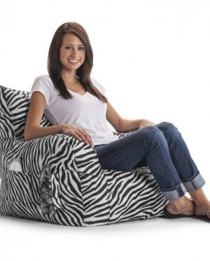 Stylish Zebra Print Saucer Chair By Big Joe With Low Style Square Shaped Back Rest Also Simple Block Arm Side Complete With The Seat Cushions