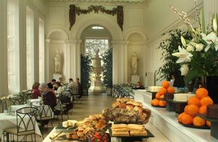 Afternoon tea at the Orangerie at Kensington Palace. Building designed by Christopher Wrenn