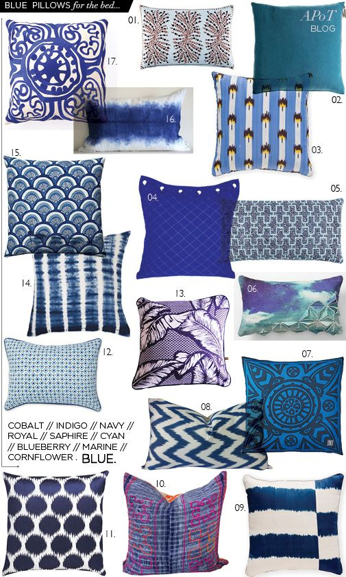 blue bed pillows