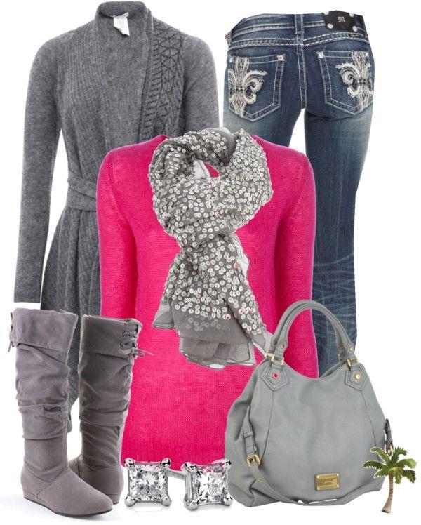 hot pink + grey