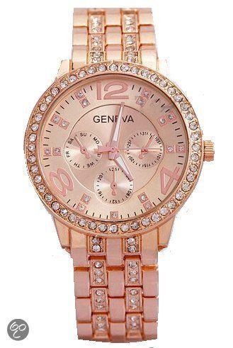 Geneva horloge rose 38 mm I-deLuxe verpakking