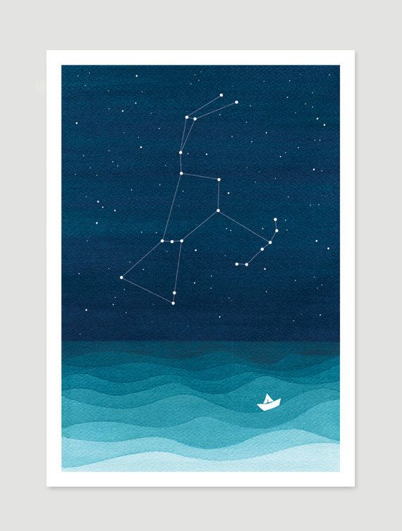 Orion constellation. Giclee print. Nautical wall decor. Lonely ship at sea in the starry night - giclee print of a watercolor painting. Wall decor. Wall