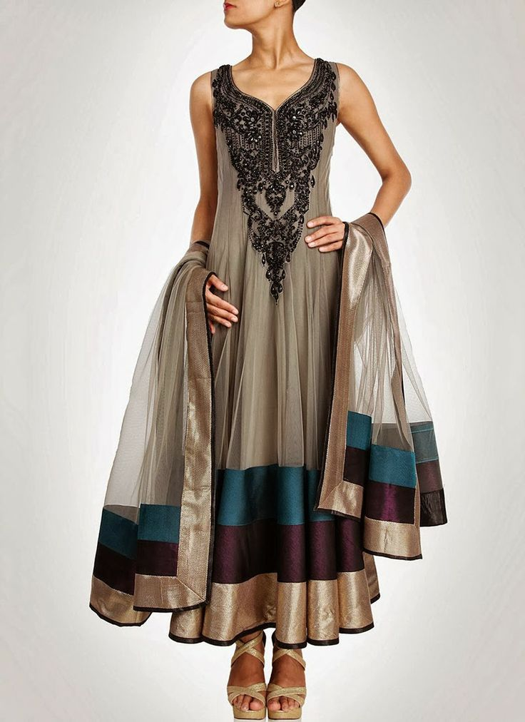 Grey and black long anarkali silk suit