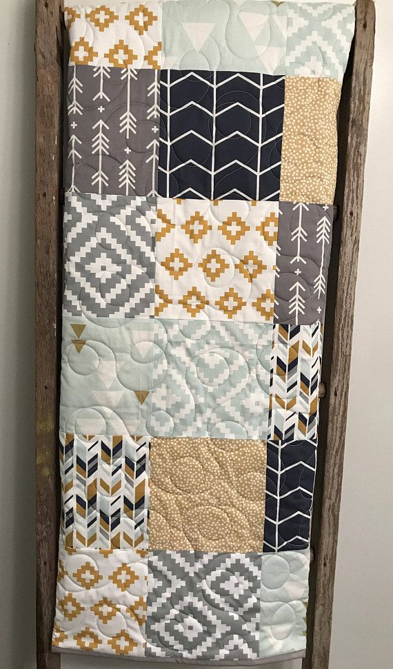 Geometric Baby Quilt, Gender Neutral Baby Bedding, Aztec Baby Quilt, Navy Mint Gold Gray Grey Baby Quilt, Aztec Nursery, Tribal Crib Bedding This modern tribal baby quilt was inspired by a recent customer request. Featuring geometric prints in navy, gray, gold and mint with a