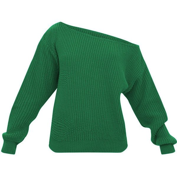 Emerald Green Off Shoulder Knitted Crop Jumper ($16) ❤ liked on Polyvore featuring tops, sweaters, off shoulder crop sweater, emerald green sweater, cropped jumper, off-shoulder sweaters and off-shoulder crop tops
