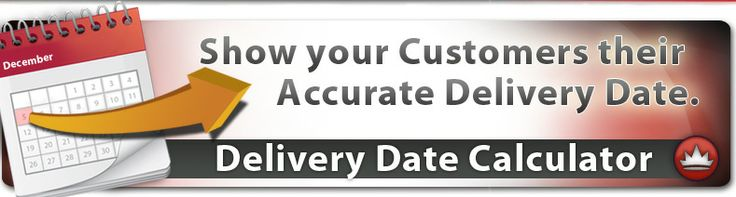 Delivery Date Calculator- your customers can enter their destination zip code & are instantly provided a list of estimated delivery dates for all of the available shipping methods. This system accounts for each individual items processing time, weekends, holidays and cut-off times for UPS, FedEx, DHL, USPS, Yellow Freight and R + L Carriers.
