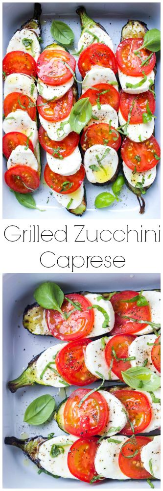 Such an easy summer side! Grilled zucchini topped with caprese: tomatoes, fresh mozzarella, and basil | littlebroken.com @littlebroken